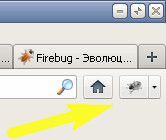 Firebug на панели