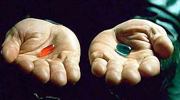 синюю или красную